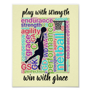 Player Positions and Inspirational Netball Quote Poster
