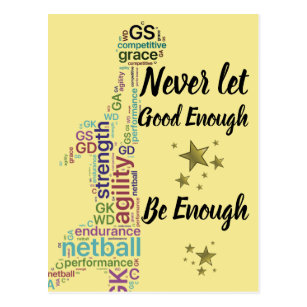 Player Positions And Motivational Netball Quote Postcard