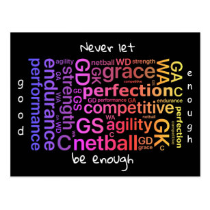 Player Positions Inspirational Netball Quote Postcard