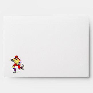 Player skating with puck envelope