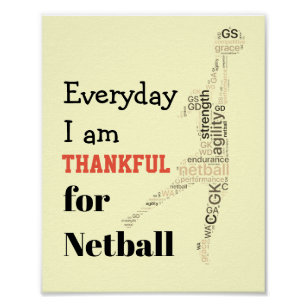 Player Word Art Motivational Netball Quote Poster