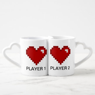 Players 1 and Player 2 Geek Gamer Coffee Mug Set
