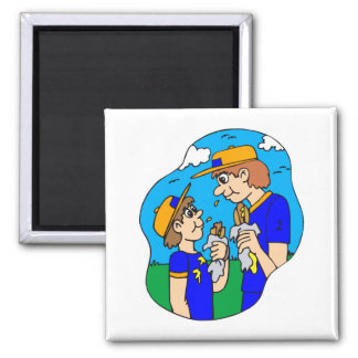 Players eating hot dogs magnet