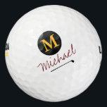 "player's initial & name custom golf balls<br><div class=""desc"">A monogrammed design for the golf-player</div>"