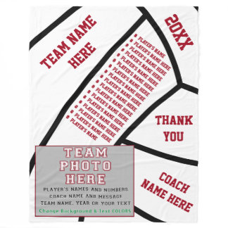 Players NAMES, PHOTO, Volleyball Coach Gift Ideas Fleece Blanket