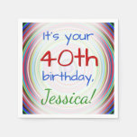 [ Thumbnail: Playful 40th Birthday Paper Napkins ]