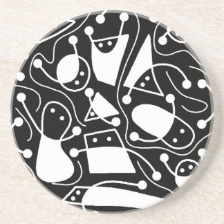 Playful abstract art - black and white sandstone coaster