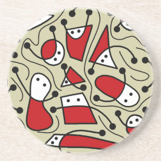 Playful abstract art drink coaster