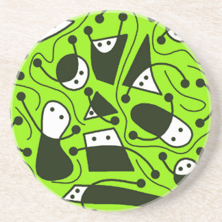 Playful abstraction - green drink coaster