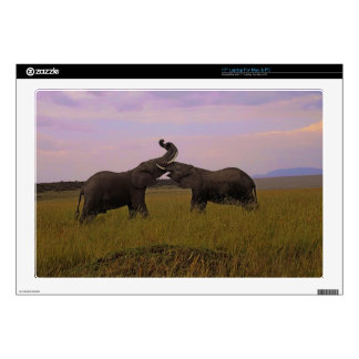 """Playful African Elephants Tanzania Africa Decals For 17"""" Laptops"""