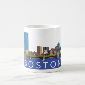 Playful and Unique Illustration Boston Skyline Coffee Mug