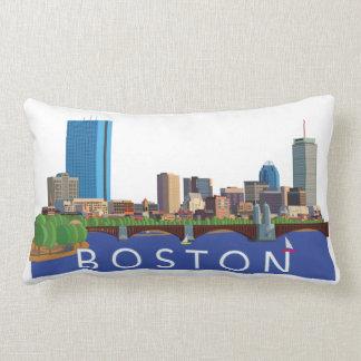 Playful and Unique Illustration Boston Skyline Lumbar Pillow