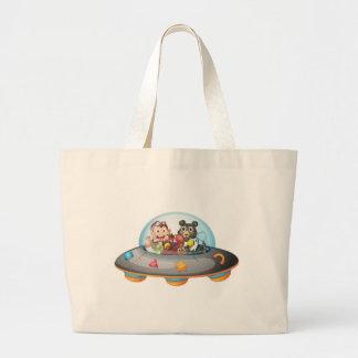 Playful animals inside the saucer jumbo tote bag