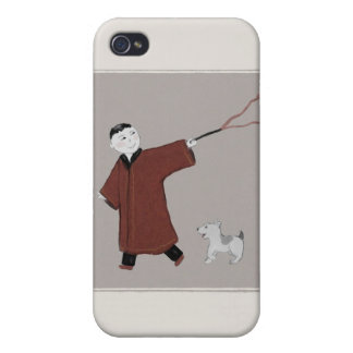 Playful Asian Boy and His Dog iPhone 4 Case