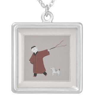 Playful Asian Boy and His Dog Necklace