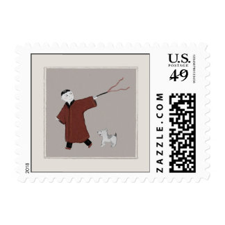 Playful Asian Boy and His Dog Postage