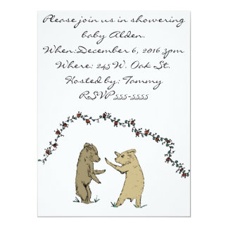 Playful Baby Bears Playing Children's Illustration Card
