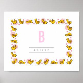 Playful Baby Ducks Pink Monogram Nursery Wall Art