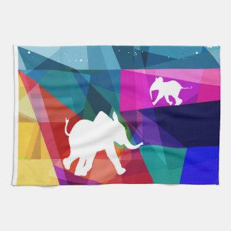 Playful baby elephant hand towel