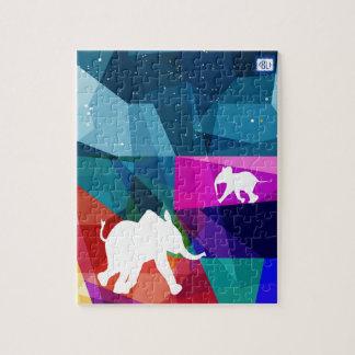 Playful baby elephant puzzle