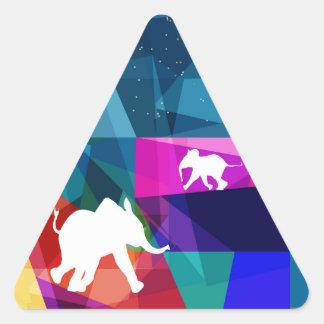 Playful baby elephant triangle sticker