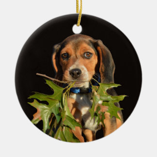 Playful Beagle Puppy With Leaves Ceramic Ornament