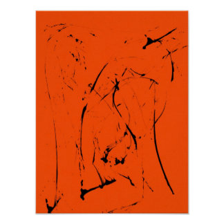Playful Black Line Abstract on Red Poster