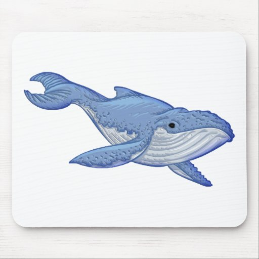 Playful Blue Whale Mouse Pads