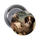 Playful Brown and Cream Haired Pet Dog Pin