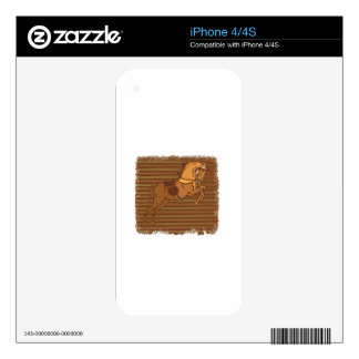 PLAYFUL Brown HORSE Sketch Skin For The iPhone 4