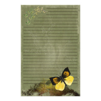 Playful Butterfly- Digi Painted Stationary- lined Stationery