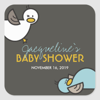 Playful Cartoon Duck Boy Twins Baby Shower Sticker