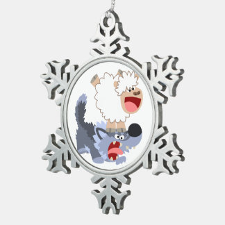 Playful Cartoon Sheep and Wolf Pewter Ornament
