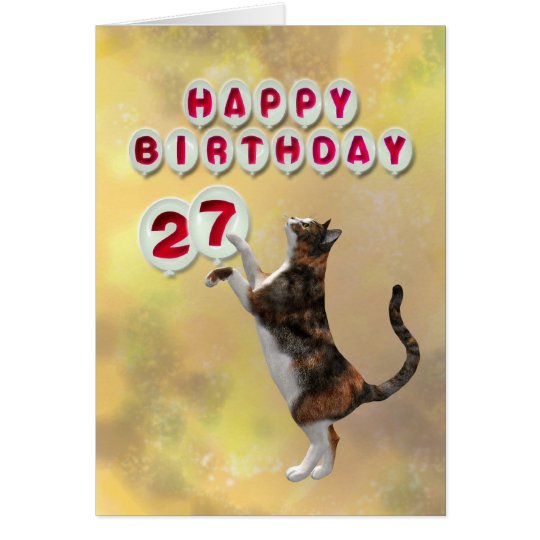 Playful cat and 27th Happy Birthday balloons Card