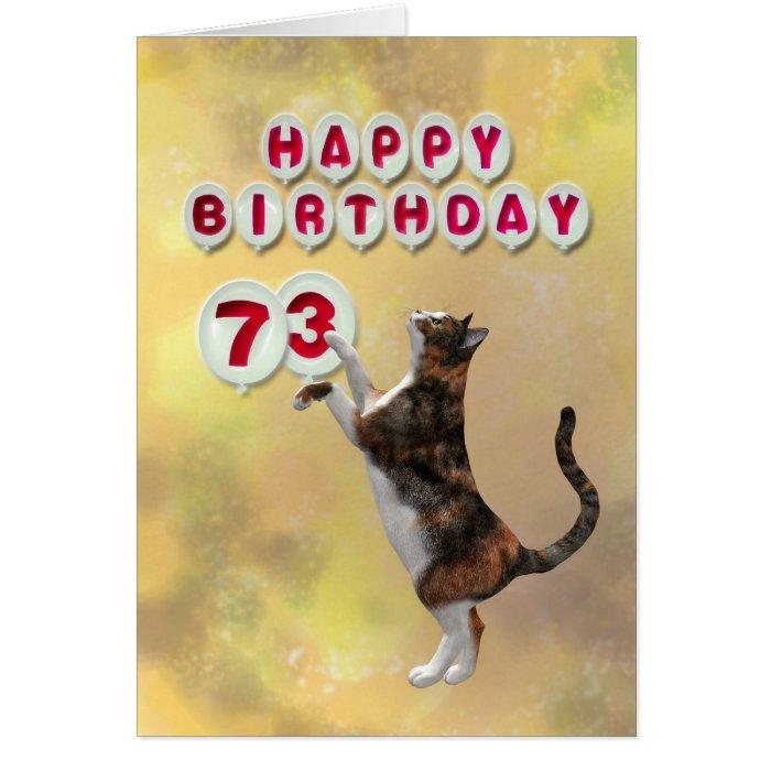 Playful cat and 73rd Happy Birthday balloons Card