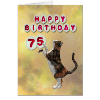 Playful cat and 75th Happy Birthday balloons Card