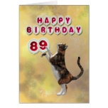 Playful cat and 89th Happy Birthday balloons Greeting Card