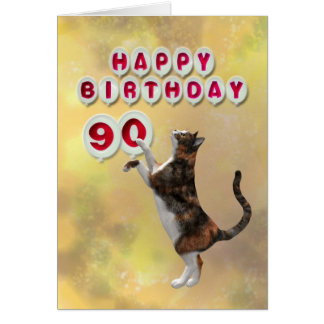 Playful cat and 90th Happy Birthday balloons Card