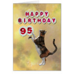 Playful cat and 95th Happy Birthday balloons Greeting Card