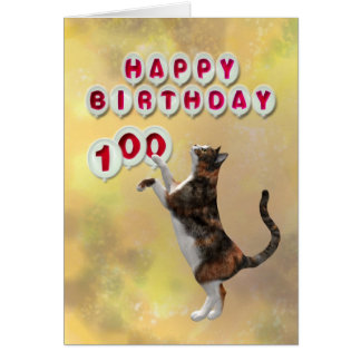 Playful cat and Happy Birthday balloons Card