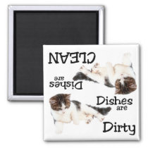 Playful Cat Dishwasher Magnet