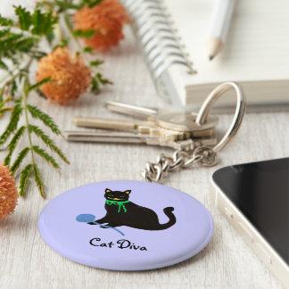 Playful Cat Basic Round Button Keychain