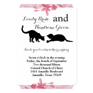 Playful Cats Pink Floral Wedding Invitation