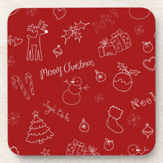 Playful Christmas Icons Plastic Coasters