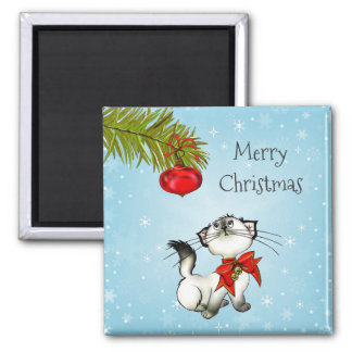 Playful Christmas Kitty With Red Bow Magnet