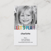 Playful Colors Mommy Card / Play Date Card