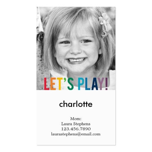 Viral News Website Needs A Playful Logo: Playful Colors Mommy Card / Play Date Card Business Card