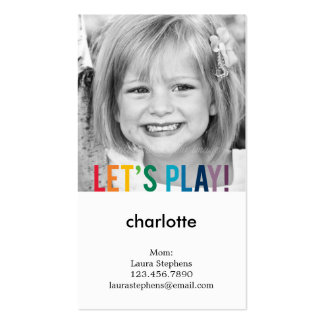 Playful Colors Mommy Card / Play Date Card Double-Sided Standard Business Cards (Pack Of 100)