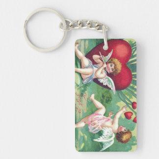 Playful Cupids Retro Cute Vintage Valentine Hearts Keychain