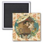 Playful Cupids Vintage Valentine Artwork Fridge Magnet